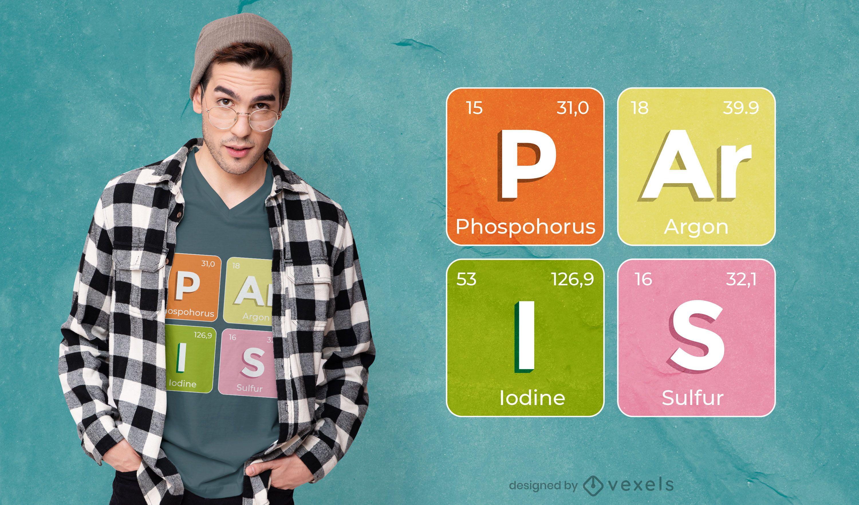 Diseño de camiseta de elementos químicos de París.