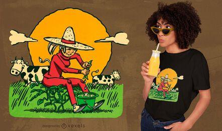 Design de camiseta de fazendeiro ordenha de soja