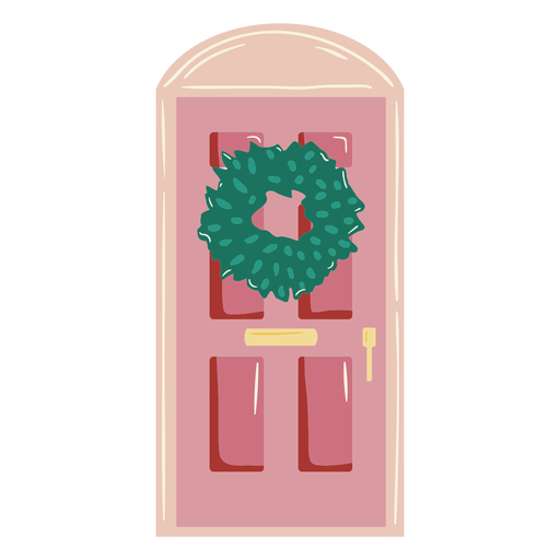 Glossy pink door with christmas crown