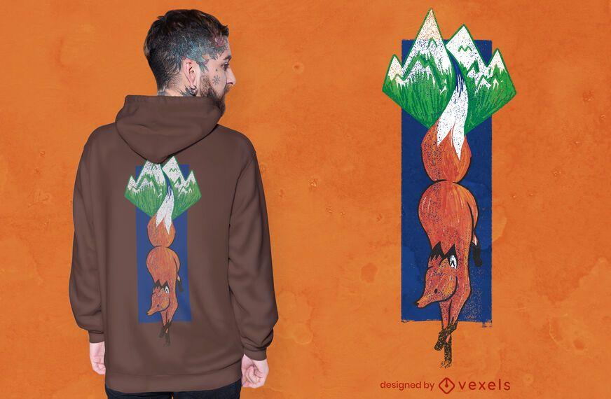 Design de camiseta com paisagem de raposa da montanha