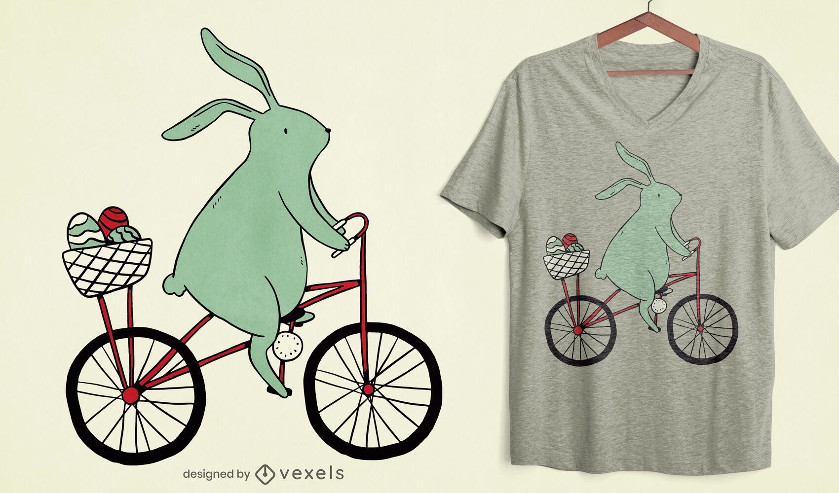 Design de camiseta de coelhinho da Páscoa andando de bicicleta