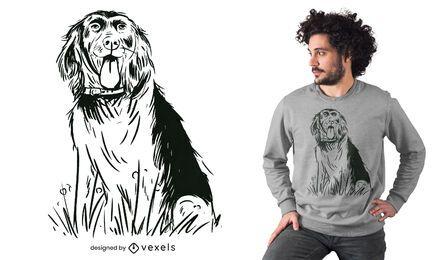 Cão de raça sentado desenhado à mão com design de t-shirt