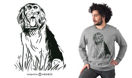 Dog breed sitting hand-drawn t-shirt design