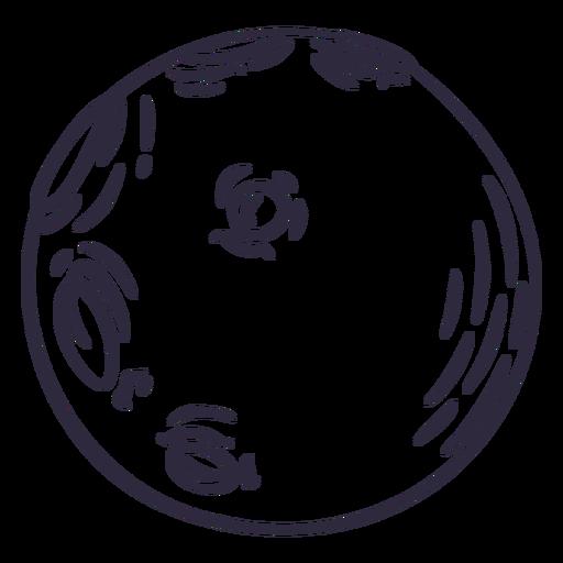 Simple moon doodle stroke