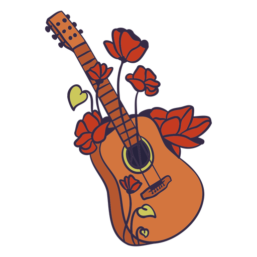 Guitar with roses illustration