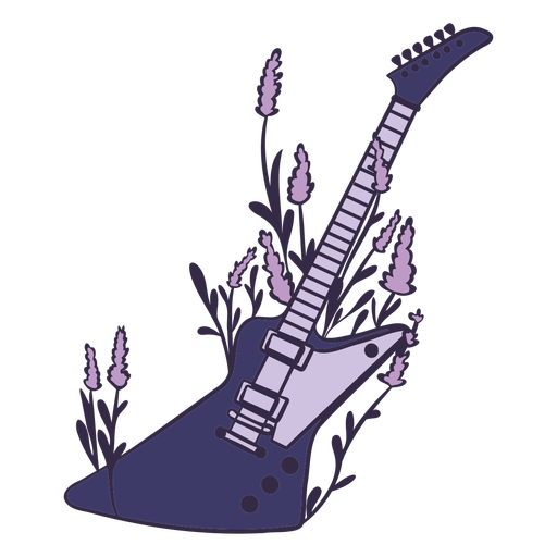 Electric guitar with flowers color stroke