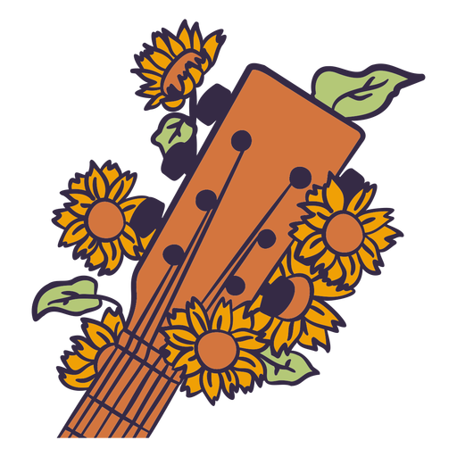 Acoustic guitar head with flowers color stroke