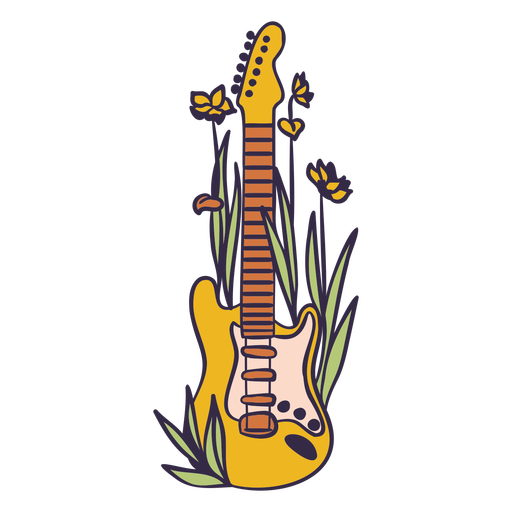 Yellow electric guitar with flowers color stroke