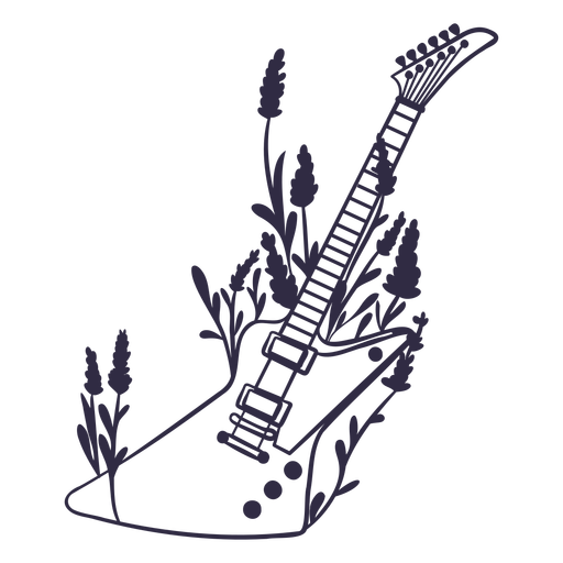 Electric guitar with flowers stroke