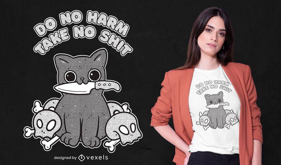 Diseño de camiseta con cita de cuchillo de gatito