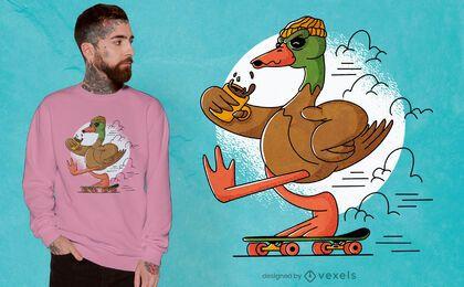 Skater duck urban t-shirt design