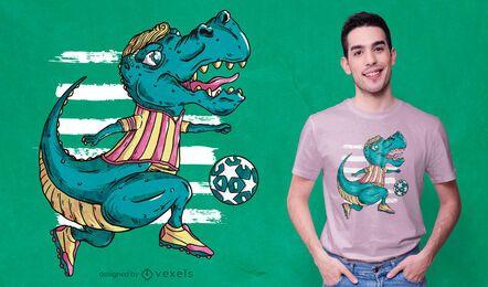 T-rex jugando diseño de camiseta de fútbol.