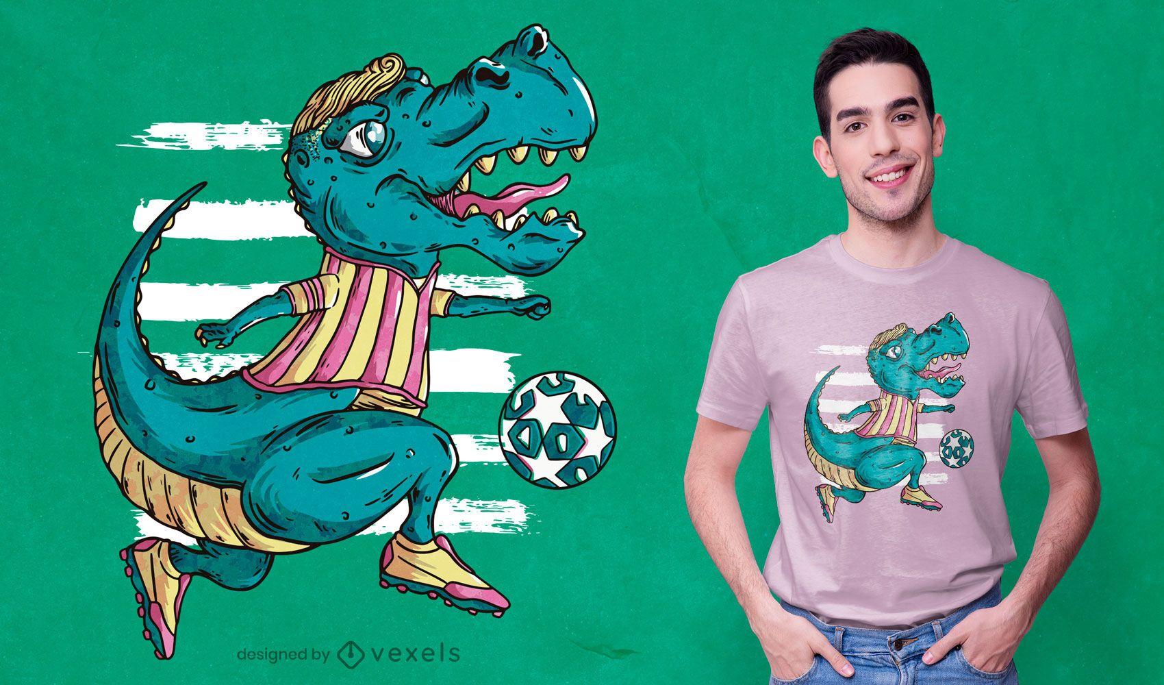 T-rex playing soccer t-shirt design