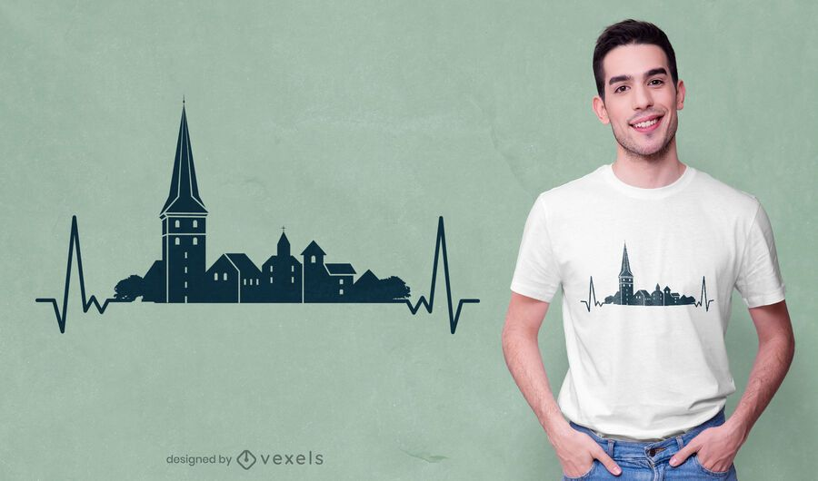 Heartbeat skyline building t-shirt design