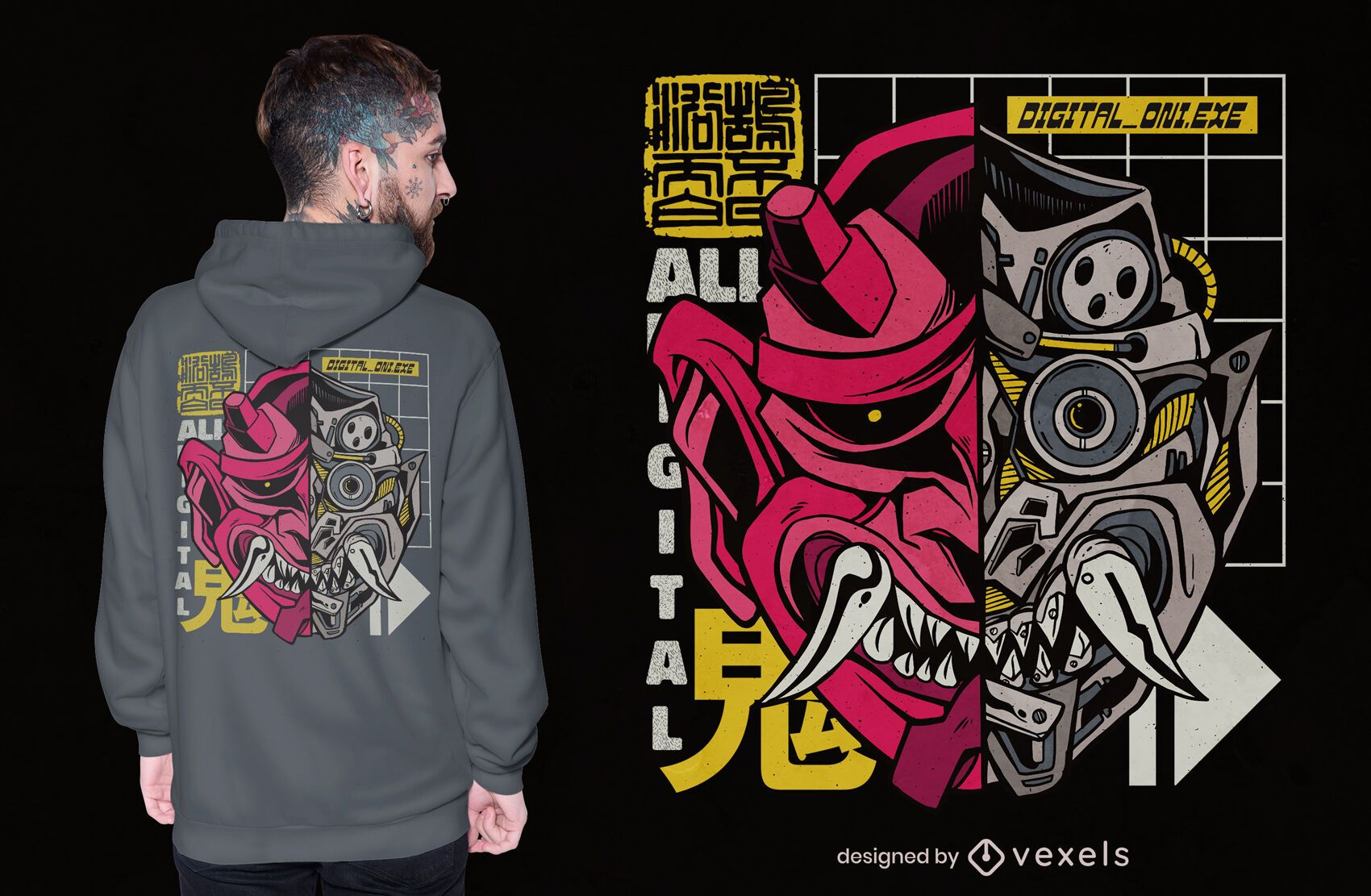 Oni Japanese demon cyborg t-shirt design