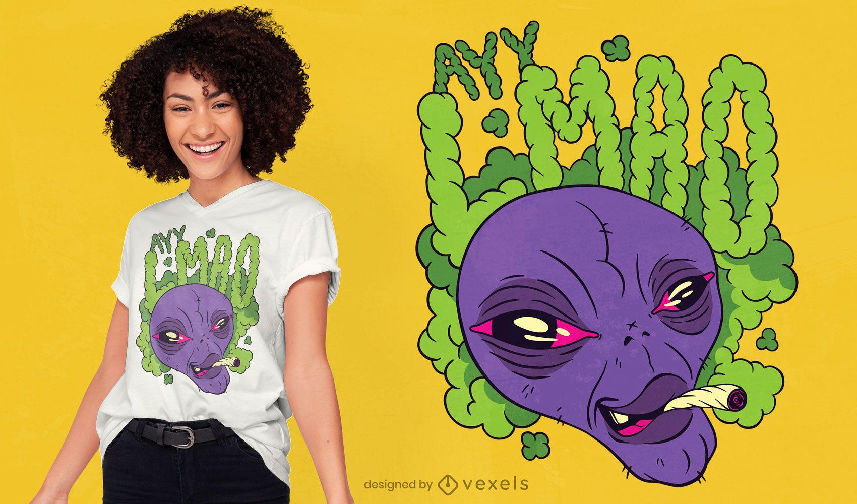 Diseño de camiseta ay lmao alien quote