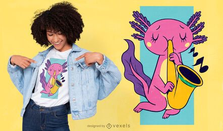 Axolotl tocando design de camiseta de saxofone