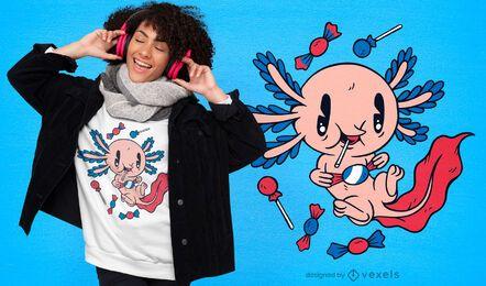 Design de camiseta de desenho animado axolotl