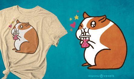 Diseño lindo de la camiseta del hámster del té de la burbuja