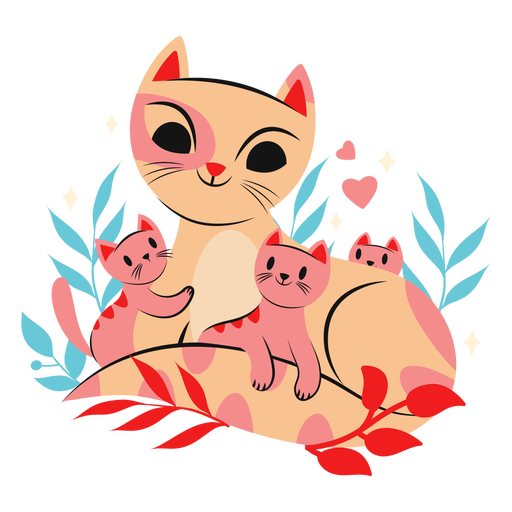 Cute cat mom with kittens