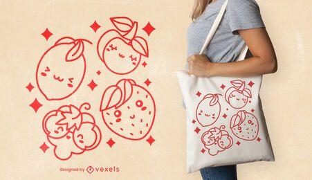 Design de sacola de frutas kawaii