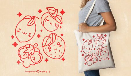Diseño de bolsa de asas de frutas kawaii