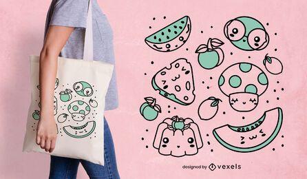 Diseño de bolsa de comida kawaii