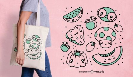 Kawaii food tote bag design