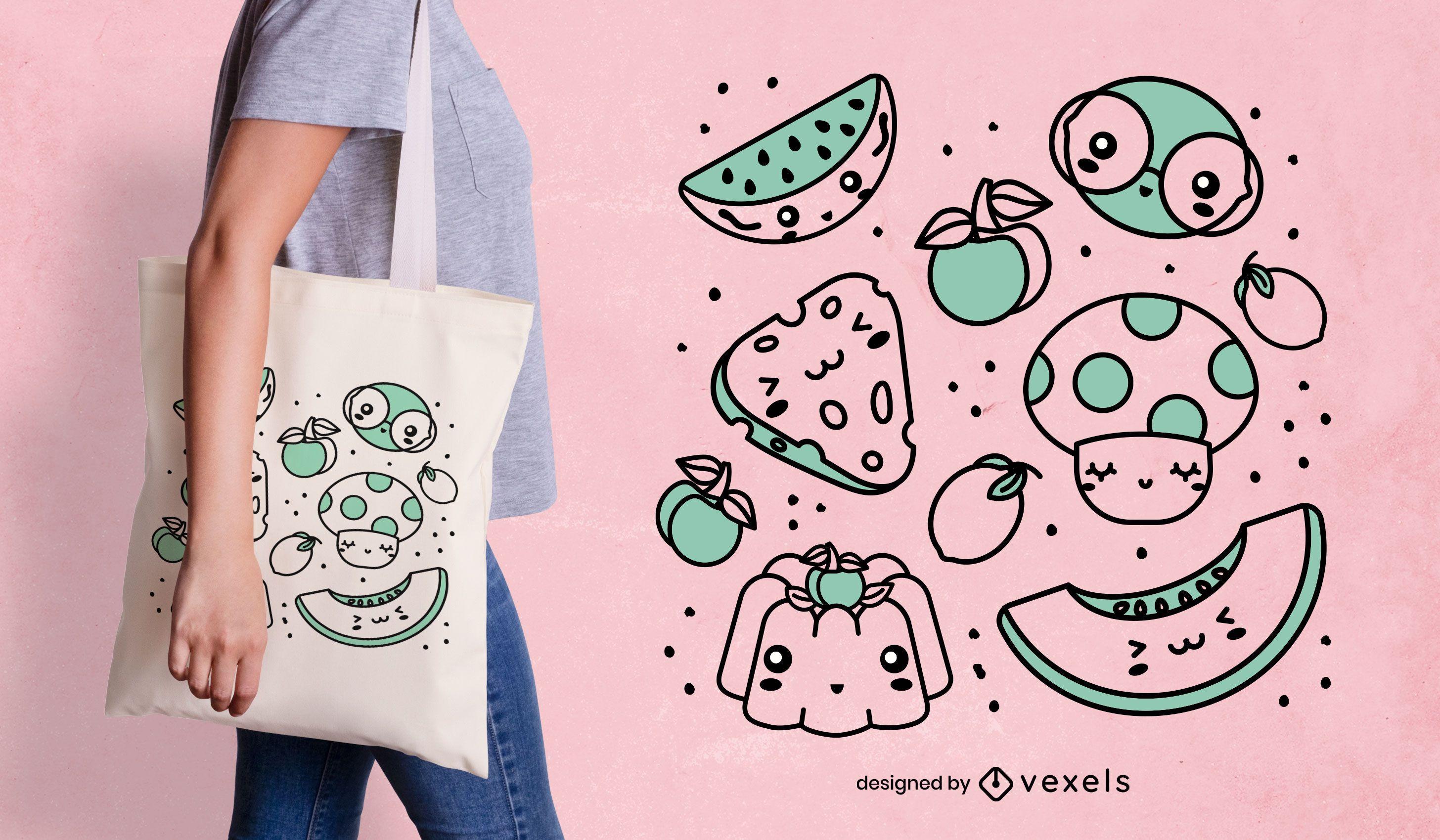 Kawaii food tote bag design