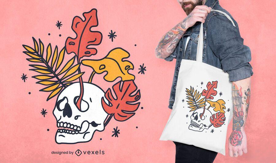 Skull leaves tote bag design