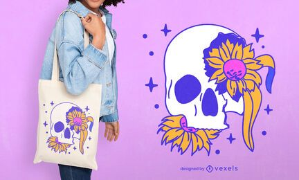 Floral skull tote bag design