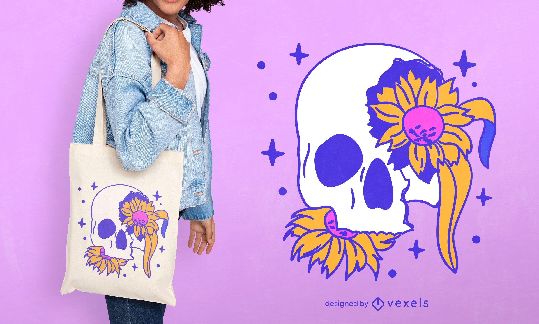 Floral skull tote bag design