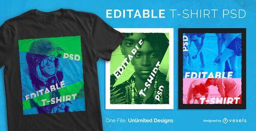 T-shirt escalonável com efeito de filtro de cor psd