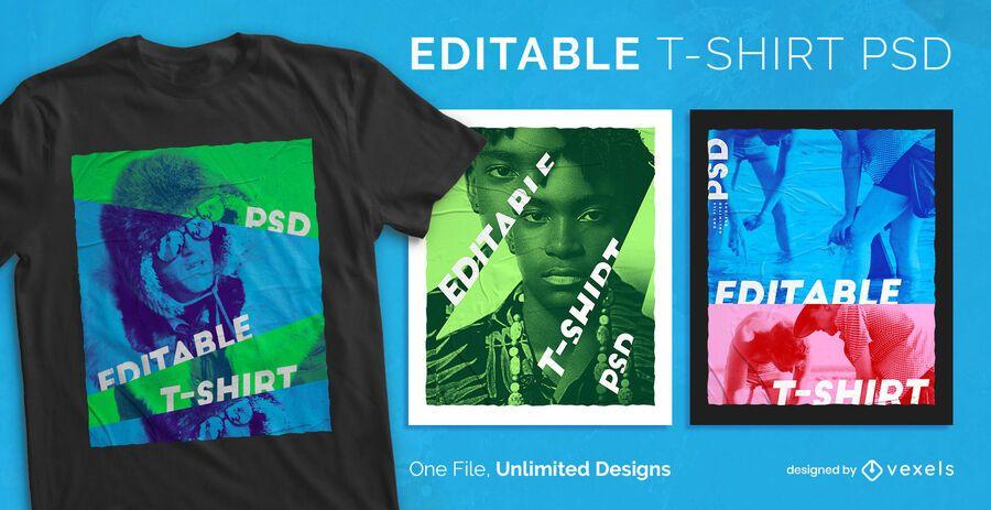 Farbfiltereffekt skalierbares T-Shirt psd