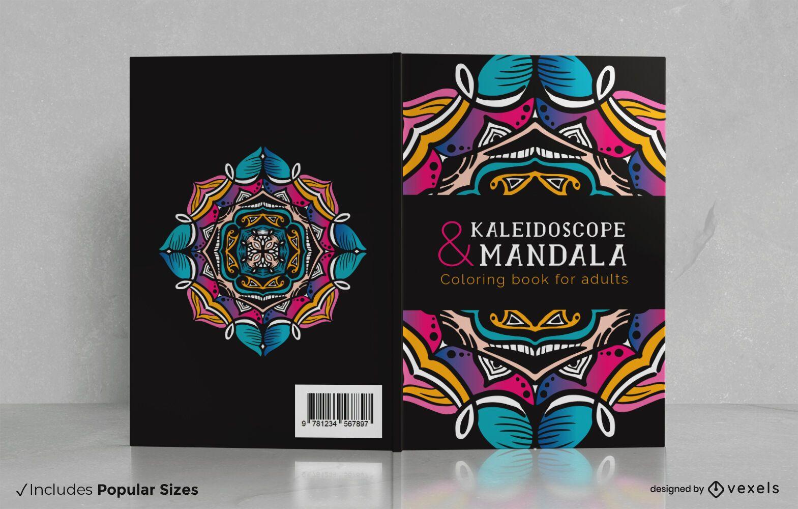Mandala coloring adults book cover design