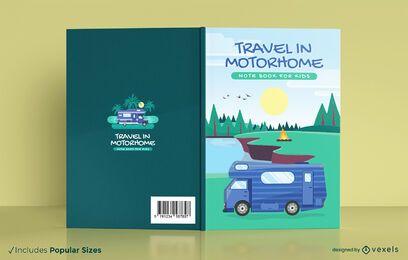 Design da capa do notebook para autocaravana de viagens