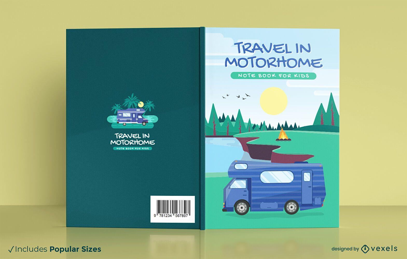 Diseño de portada de cuaderno de autocaravana de viaje