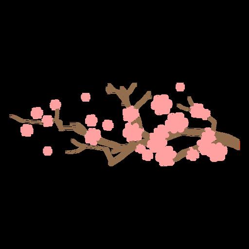 Sakura branch with flowers flat
