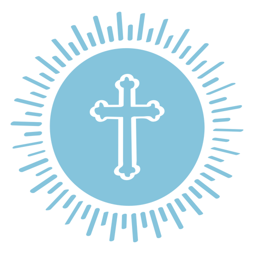 Catholic cross in circle cut out