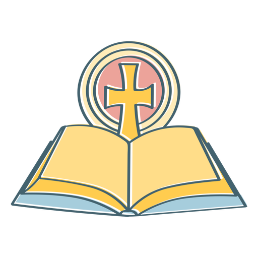 Open bible with cross color stroke