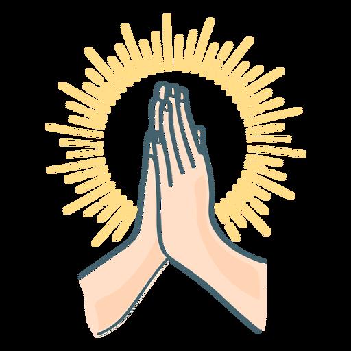 Praying hands color stroke