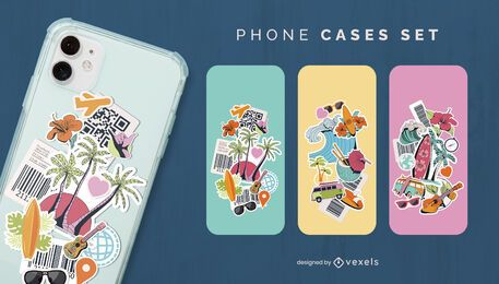 Tropical collage phone case set