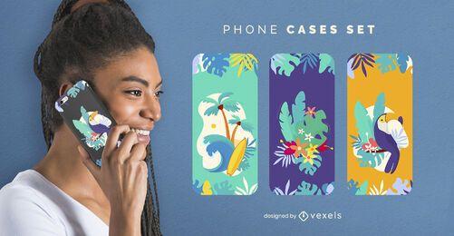 Conjunto de capa de telefone de praia tropical