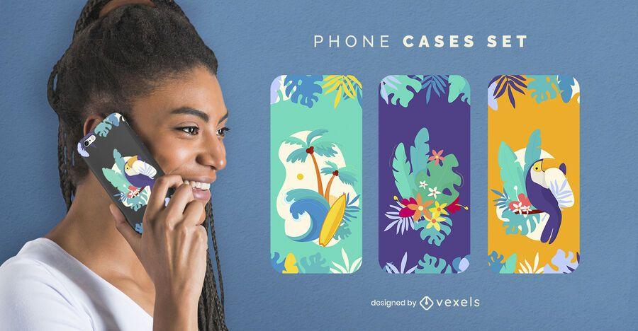 Tropical beach phone case set