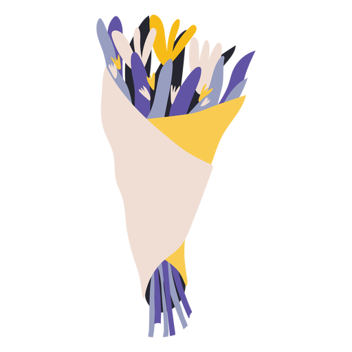 Lilac bouquet of flowers flat