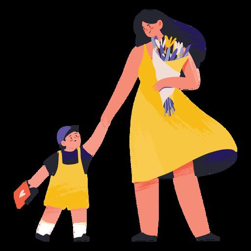 Madre con flores e hijo semi plano.