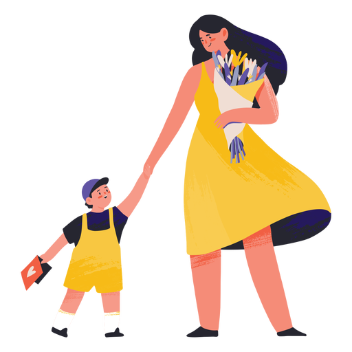 Mother with flowers and son semi flat