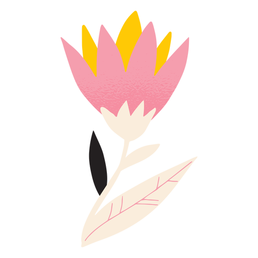 Pink and yellow tulip textured