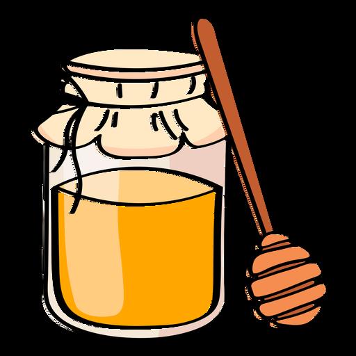 Honey in jar color stroke