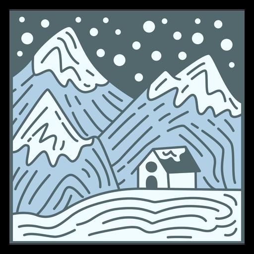 Winter landscape snowing tile
